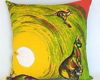 Kangaroos Australia vintage tea towel cushion cover
