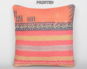 24x24 rustic home decorations orange chair cushions coral bench cushion prehistoric ethnic pillows lounge throw pillow kilim pillow 283-60