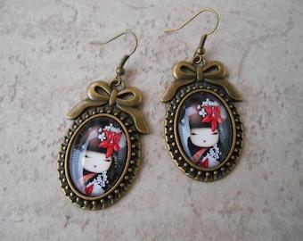 Kokeshi earrings pendants bow