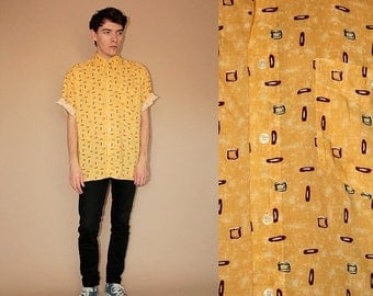 ON SALE 80's vintage men's yellow patterned shirt