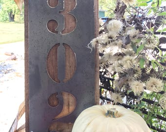 Wood and Metal House Number Sign