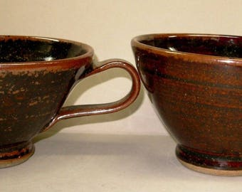Large Brown Pottery Mugs,  Stoneware Cappuccino Latte Cups