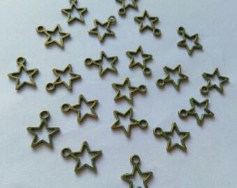 20 Bronze Tone Star Charms