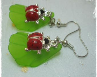 Enamel ladybird earrings, Ladybug earrings, Ladybird and leaf earrings