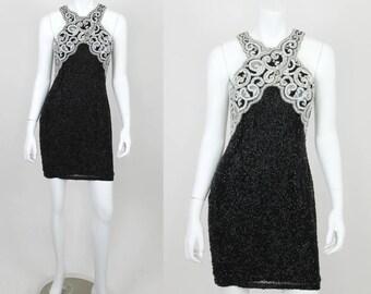 Vintage Sequin Dress Lillie Rubin Size 6 Black White Halter Short Cocktail Party Dress