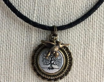 TREE of LIFE NECKLACE, Leather Necklace, Layered Pendant