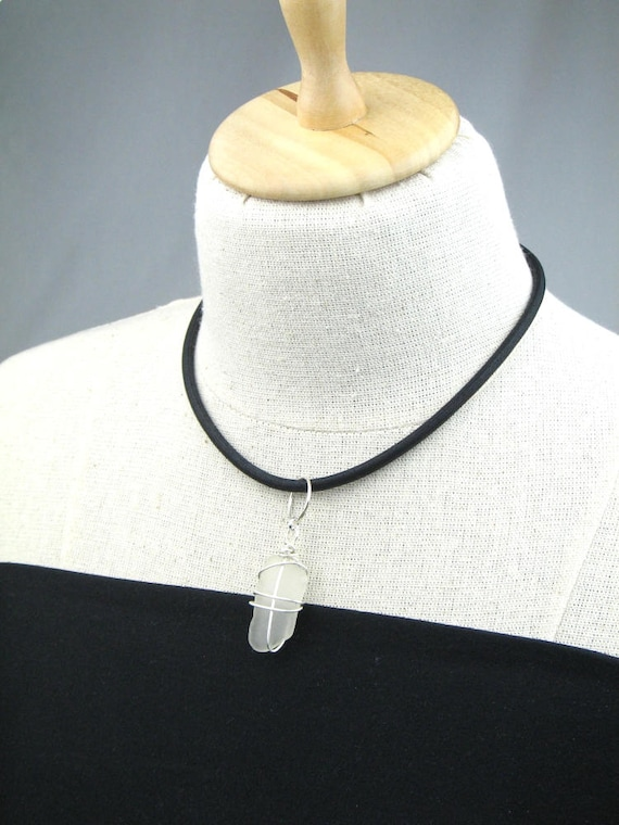 Convertible Necklace in Black Mokuba Cord with Wire Wrapped Beach Glass Pendant and Magnetic Ball Clasp