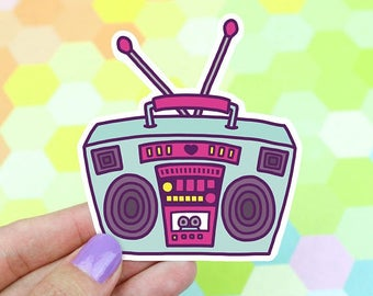 Moving SALE Boombox Laptop Decal, Hip Hop Sticker, 90s Music Sticker, 90s Vinyl Sticker, Radio Vinyl Sticker,  Retro Stereo Sticker,