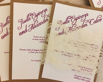 Kraft Wedding invitation with lace belly band