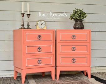 Vintage Three Drawer Coral Bedside Tables with White Accents