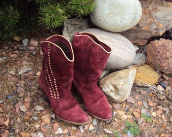 1980s Womens Wine Leather Suede Calf Length Western/Cowgirl/ Boho Boots Size 6.5 M/ Made In Brazil/ Country Swing Boots/ July 4 Boots