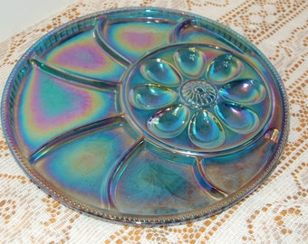 Vintage Carnival Egg Plate, Divided Relish Play, Indiana Carnival Glass Leaf Pebble Pattern, Hors d'Oeuvres Tray, Easter Tray, Collectible