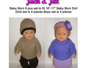 Baby Born Knitting Pattern (JACK AND JILL) fits 16 to 17 inch dolls (pattern only)