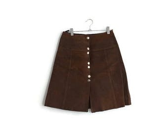 Vintage 70s suede mini skirt / original 1970s brown leather skirt / metal popper stud skirt / short suede skirt / boho / 70s mini size 8