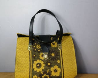 60s floral handbag / mustard vintage purse / 60s flower power / top handle bag / yellow 60s bag / boho hippie purse
