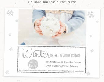Winter Mini Sessions, Winter Photography Marketing Template, Marketing Boards for Mini Sessions, Photoshop Templates for Marketing, cr003
