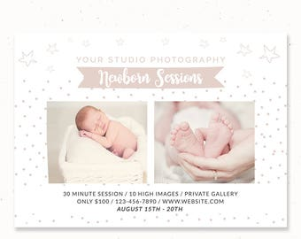 Newborn Mini Session Template for Photographers, Newborn Photography Marketing, Mini Session Marketing Flyer, Baby Mini Session, m203