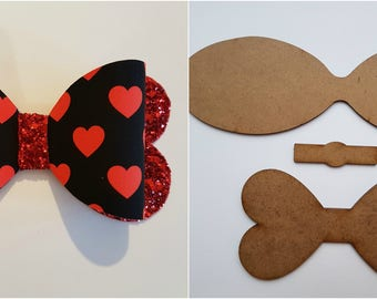 Hair bow wooden templates, make your own beautiful Hair bows 5 sizes, set, The 'True Love' Bow