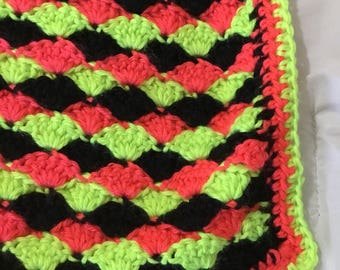 Coral, Neon Yellow and Black Throw Blanket