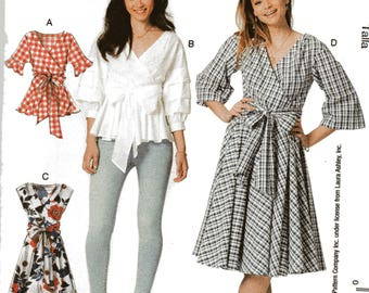 McCall's Laura Ashley Pattern 7627 WRAP TOPS & DRESSES w/Waist Ties Misses Sizes 14 16 18 20 22