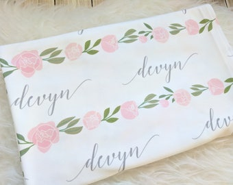 Personalized floral swaddle blanket: baby and toddler personalized name newborn hospital gift baby shower gift
