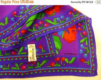 LIZ Claiborne Scarf, Purple Silk Scarf, Made in Japan, Flowers, Purple, Red, Green, Pink, 31 x 30, Excellent