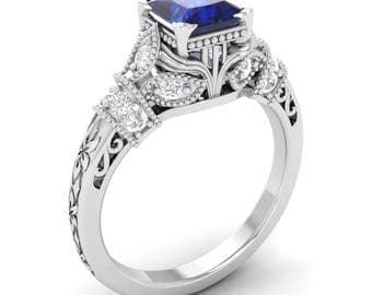 Natural Blue Sapphire Engagement Ring With Diamond | 14K White Gold Blue Sapphire | Vintage Inspired Blue Sapphire Ring | Certified Sapphire