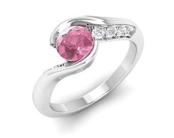 Pink Tourmaline Ring, Unique Engagement Ring, 14K White Gold, Anniversary Gift, Wedding Ring, Engagement Ring, Promise Ring/propose Ring