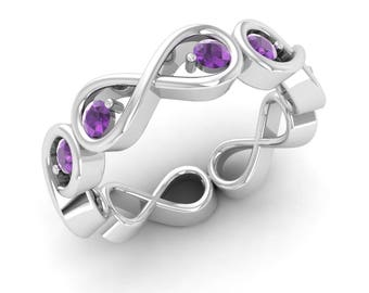 Amethyst Ring, Eternity Ring, 14K White Gold, Amethyst Engagement Ring, Anniversary Ring, Wedding Ring, Promise Ring, Forever Infinity Ring