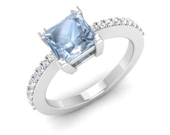 Natural AAA Aquamarine ring  Princess Aquamarine & Diamond Ring   Aquamarine Engagement Ring   14K White Gold Ring   Genuine Aquamarine Ring