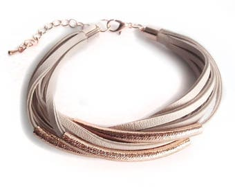Leather bracelet rose gold with tubes