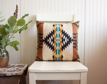 Wool Pillow Cover, Tribal Pillow in Pendleton Wool, Tan throw Pillow, Native Print Pillow Cover, Bohemian Pillow, Western Pillow Cover