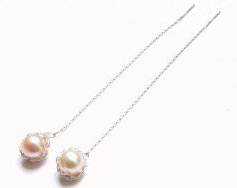 Blue Lapis lazuli earrings. Freshwater earrings. Corail earrings. Wire crochet earrings jewelry. French handmade. Gift women Christmas.