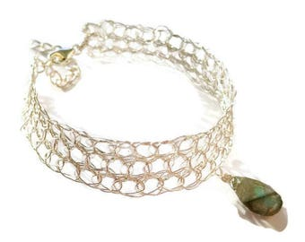 Labradorite bangle gemstone. Labradorite bracelet wire crochet jewelry. bracelet fine and silver plated wire. christmas gift women.