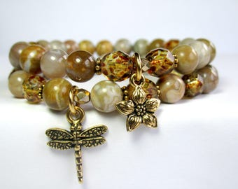 Jasper Nature Bracelet Set, Dragonfly Bracelet, Flower Bracelet, Set of 2 Bracelets, Beaded Bracelet, Charm Bracelet, Womens Bracelet