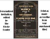 Roaring 20s Slang Invitation Printable ~ Art Deco 1920s Black Gold White Open-Face 5 1/2 X 8 1/4 Digital Files ~ Wedding Party Invite & RSVP
