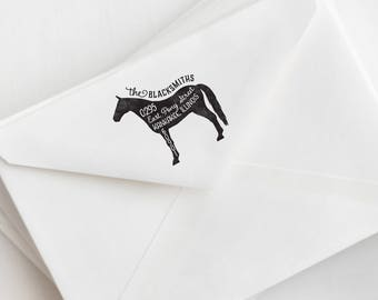 Horse Return Address Stamp - Personalized Rubber Stamp - Country Home Stamp - Farm Rubber Stamp