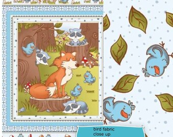 """fABRIQUILT Fox and Friends Quilt Top Panel 43"""" Wide app 1 yard in Length or Coordinating Fabric Blue Birds"""