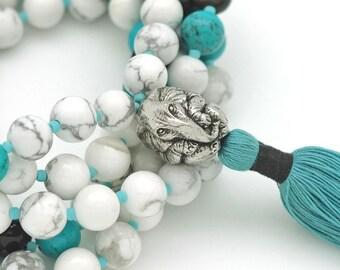 Elephant Meditation Mala with Howlite, Turquoise & Onyx, 108 bead mala, hand-made, silk tassel
