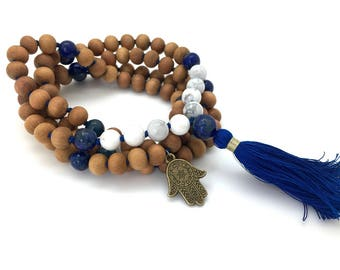 Sandalwood, Howlite & Lapis Meditation Mala with Hamsa charm, hand-made, 108 bead mala