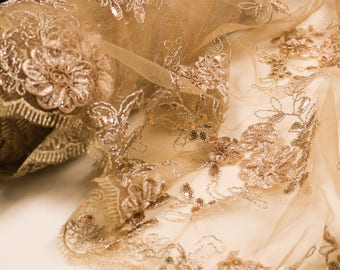 Copper Embroidered Floral Sequin Lace Fabric Wedding Bridal Decoration Special Occasion Dress Fabric by the yard - Style 2407
