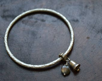 Handmade 990 Sterling Silver Bracelet with Bell and Labradorite