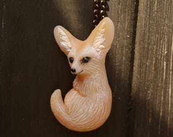 OOAK Fennec - fennec fox - Fennec Fox Necklace - fox pendant - fox Jewelry - fennec jewelry - Tiny fennec necklace - Fennec
