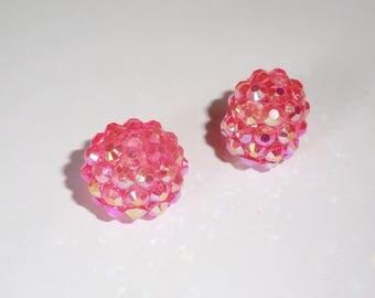2 x pumpkin rhinestone Shamballa 15mm ROSE AB beads