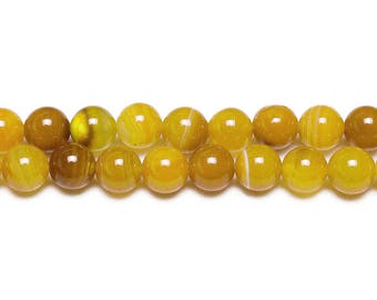 10 x beads 8mm yellow dyed Agate