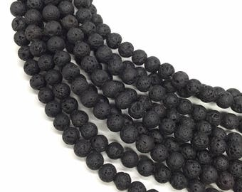 10 x beads 10mm black lava stone