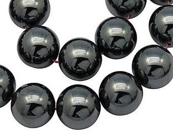 10 x 4 mm (shamballa) Hematite round beads
