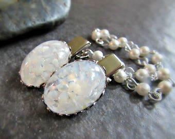 White Opal Sweater Clip- Silver or Gold Tone- Sweater Guard Clasp / Cardigan Clip Chain / Shawl Collar Clips- Rockabilly Jewelry