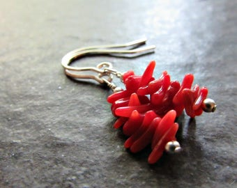 Natural Red Coral Branch Earrings- Sterling Silver, 14K Gold Filled, Rose Gold Fill- Beaded Drop Dangle Earrings- Bohemian Beach Jewelry