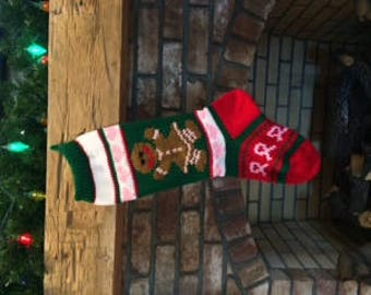 Hand Knit Breast Cancer Gingerbread Girl Stocking